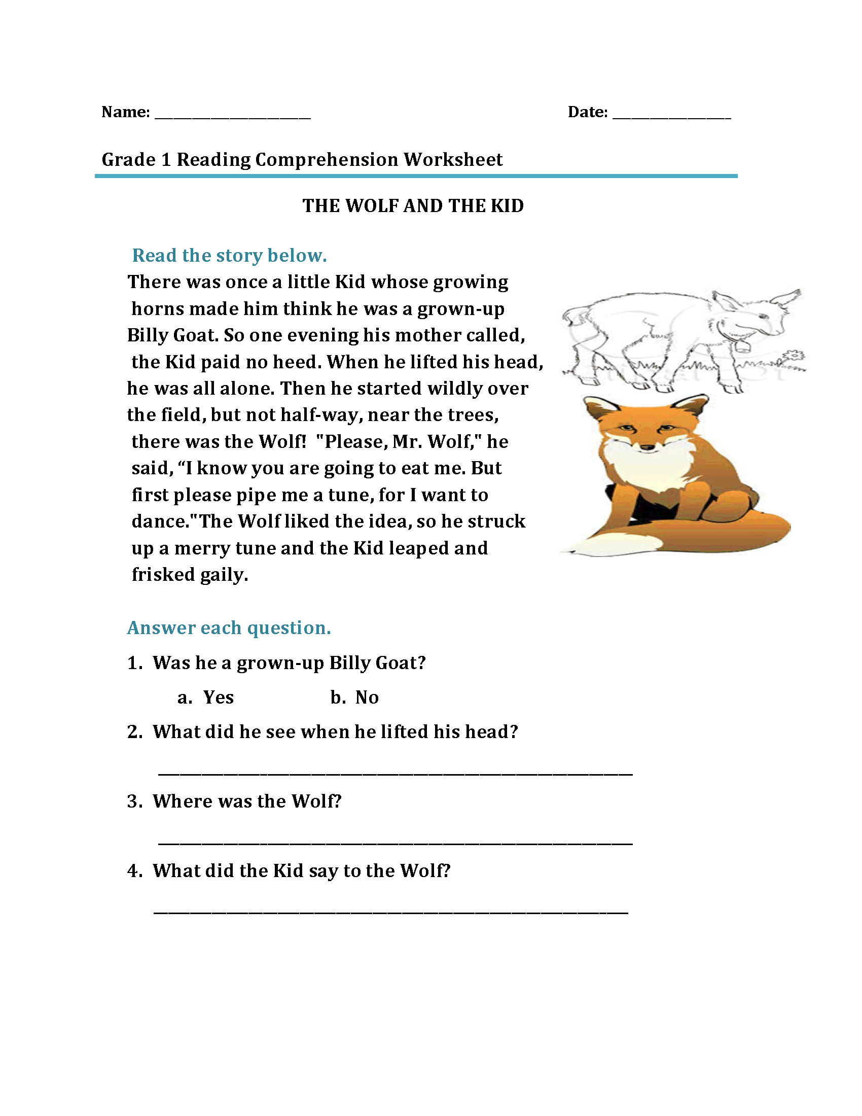 Free First Grade Worksheets