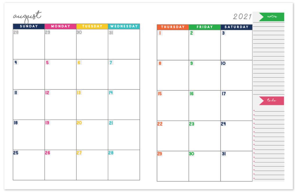 2021 Printable Calendar Two Page Free Printable Calendar