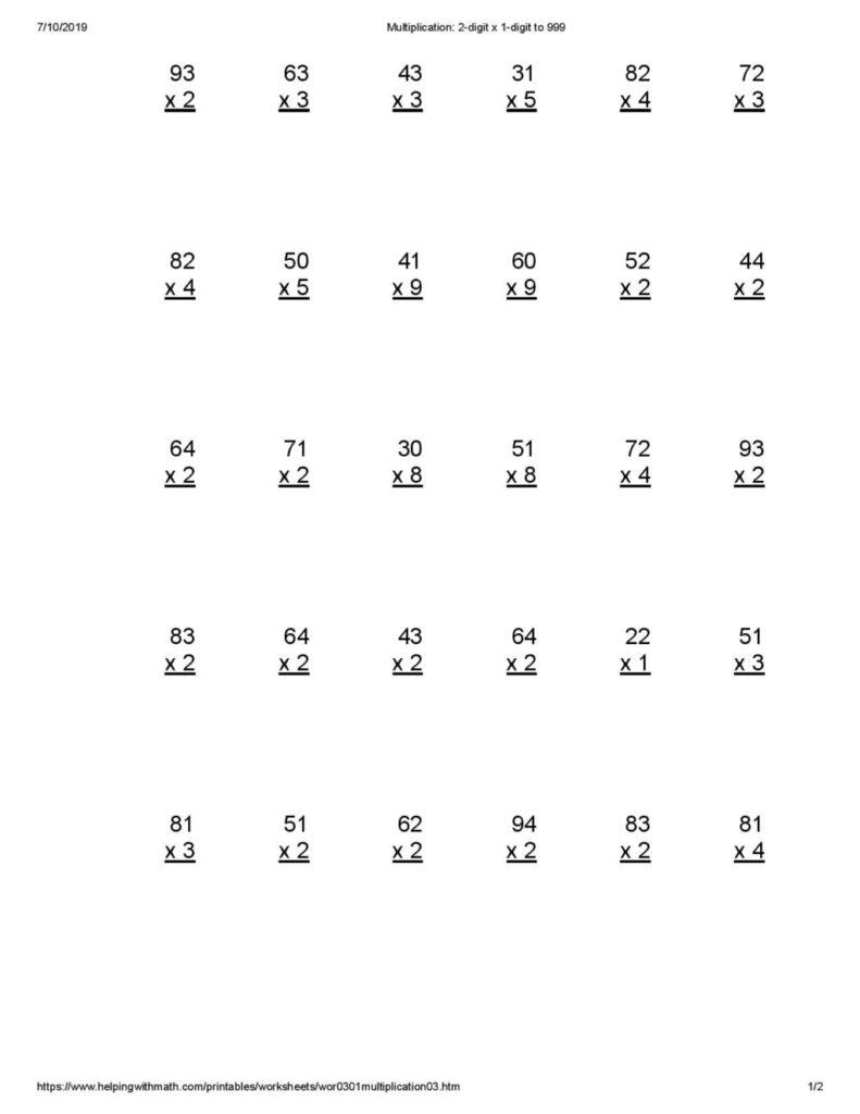 4th Grade Area Model Multiplication Worksheets Times
