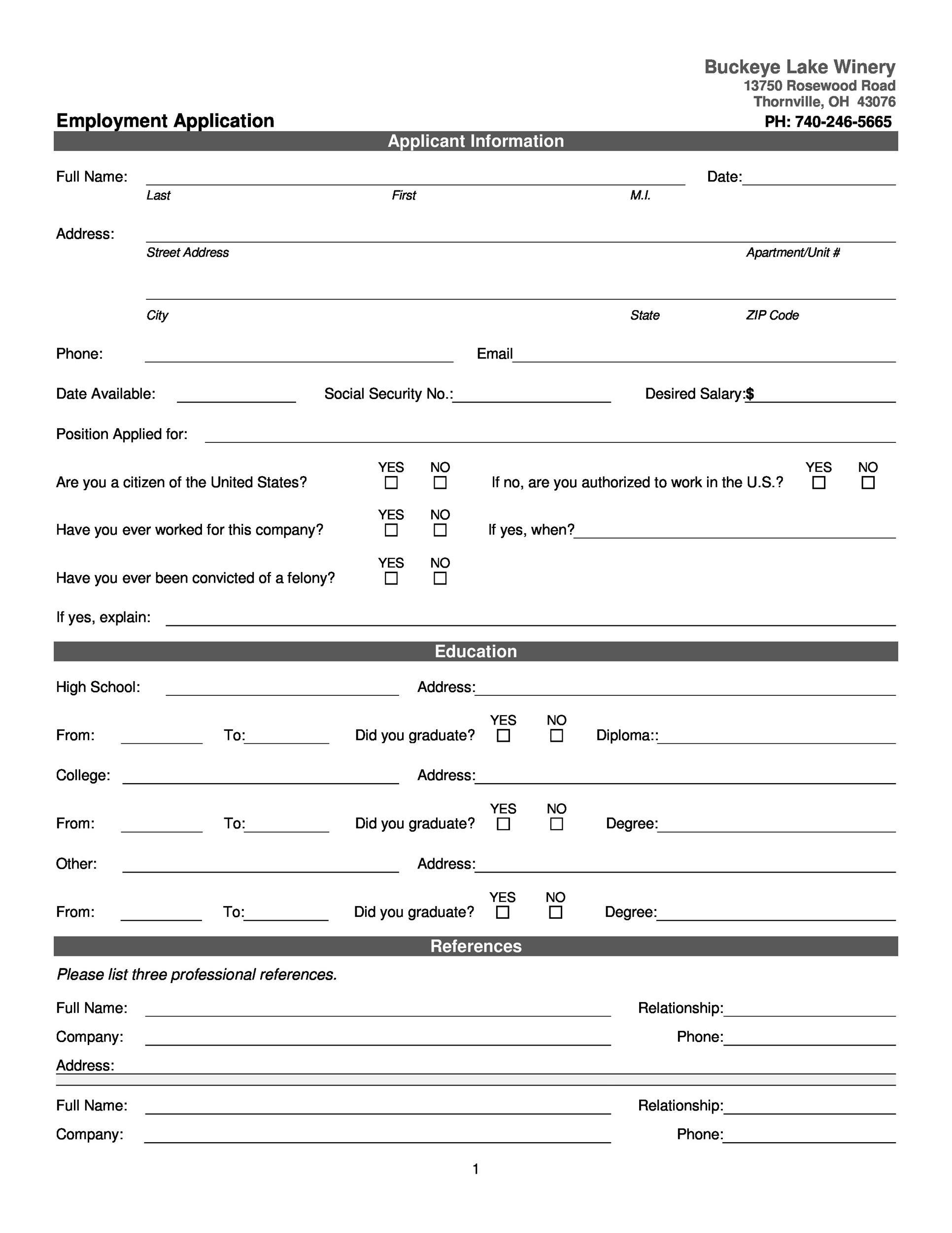 Free Printable Employment Application
