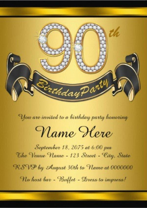 Free Printable 90th Birthday Invitations