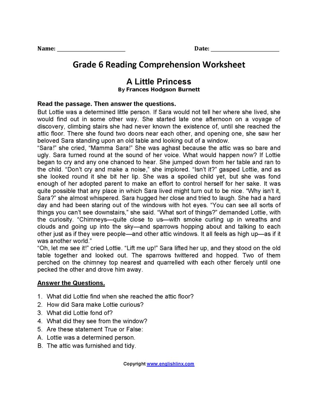 Free Printable 6th Grade Reading Comprehension Worksheets