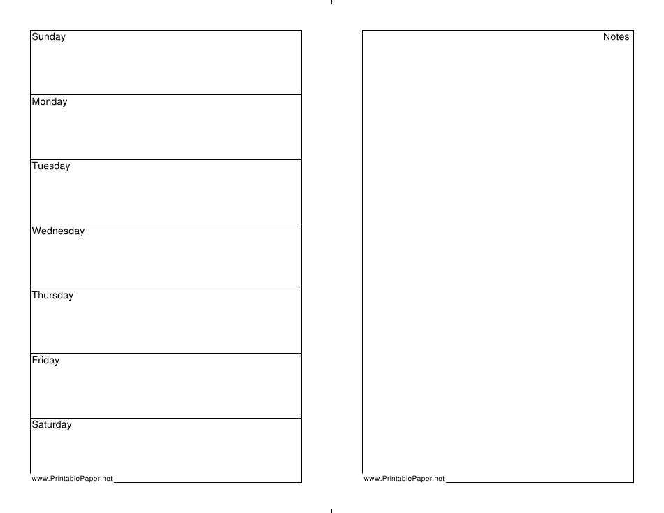 7 Day Free Printable Weekly Planner