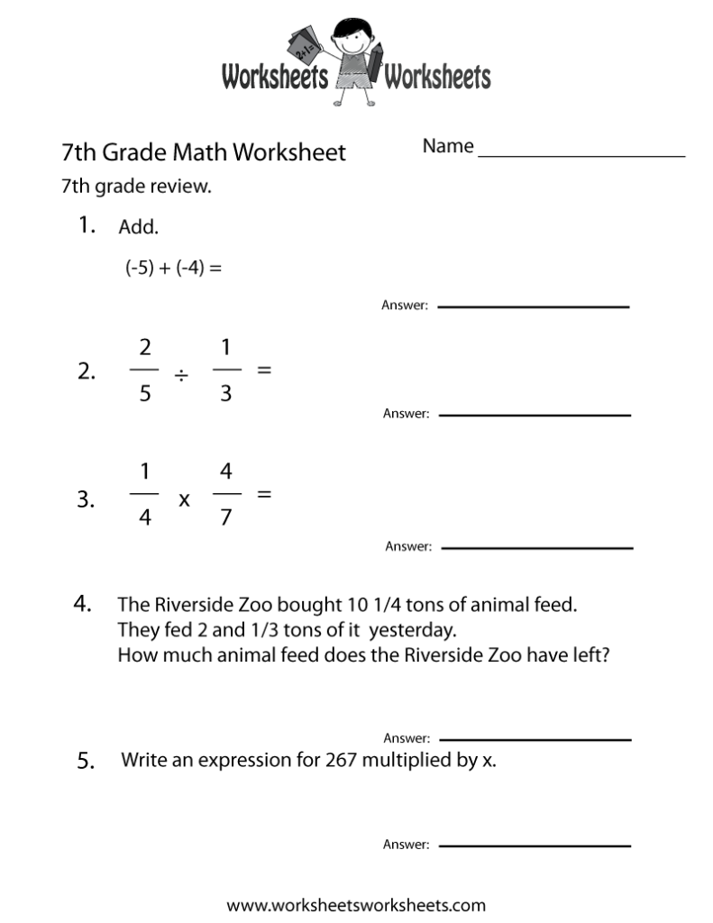 7th Grade Worksheet Category Page 1 Worksheeto