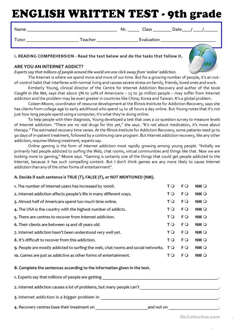 Grade 9 Free Printable Worksheets