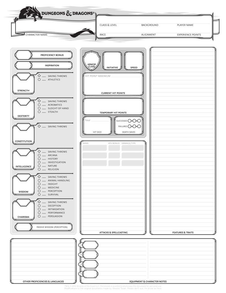 Best Printable 5e Character Sheet Regina Blog