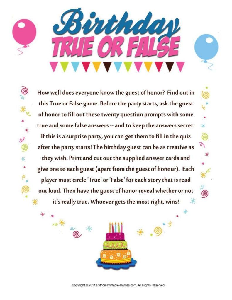 Birthday True Or False 50th Birthday Party Games 40th