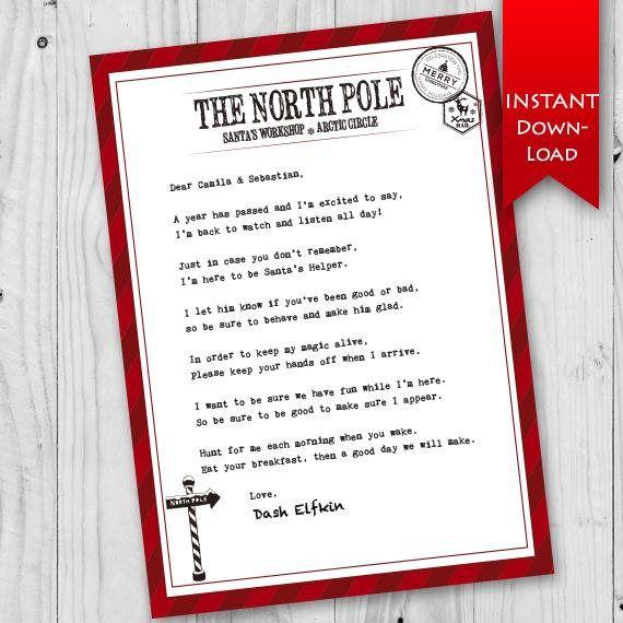 Editable Elf On The Shelf Letter