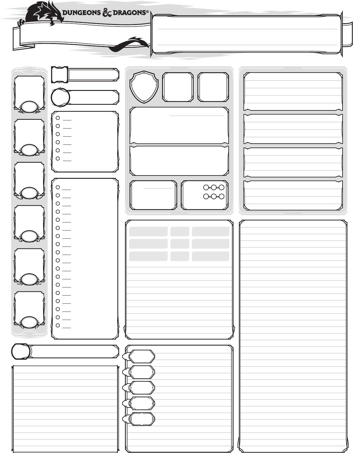 Dnd 5e Character Sheet Printable Free