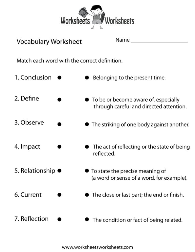 English Vocabulary Worksheet Worksheets Worksheets
