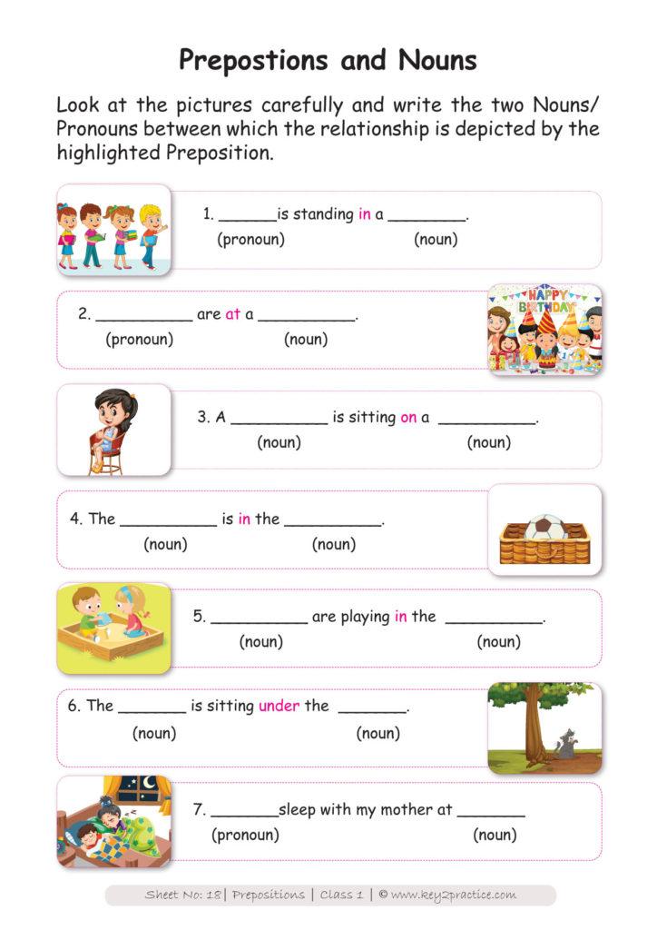 English Worksheets Grade 1 I Prepositions Key2practice