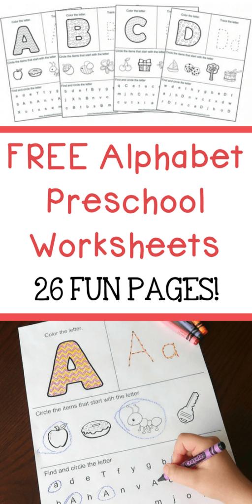 FREE Alphabet Preschool Worksheets 26 Fun Pages