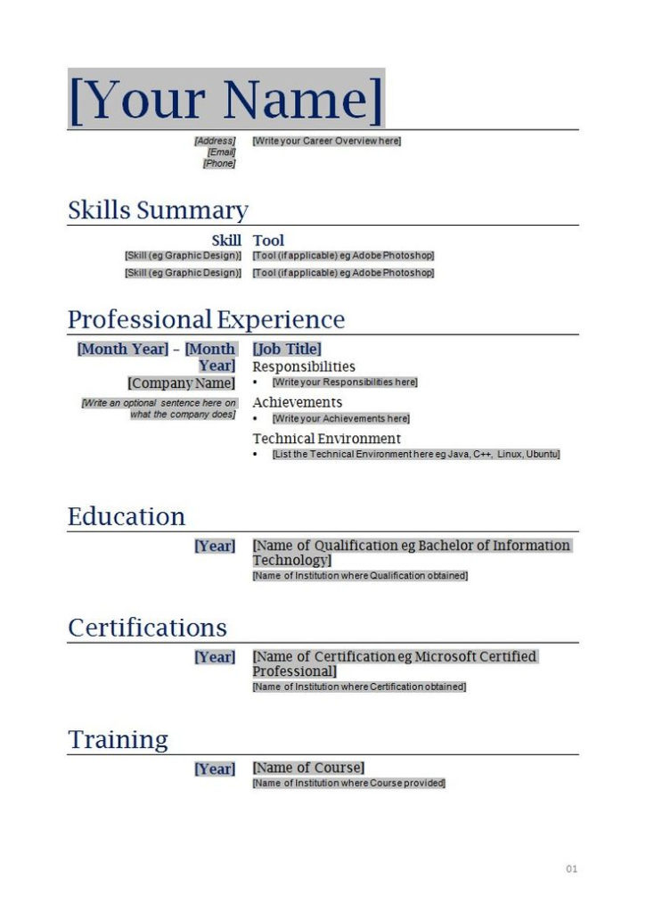 Free Blanks Resumes Templates Posts Related To Free