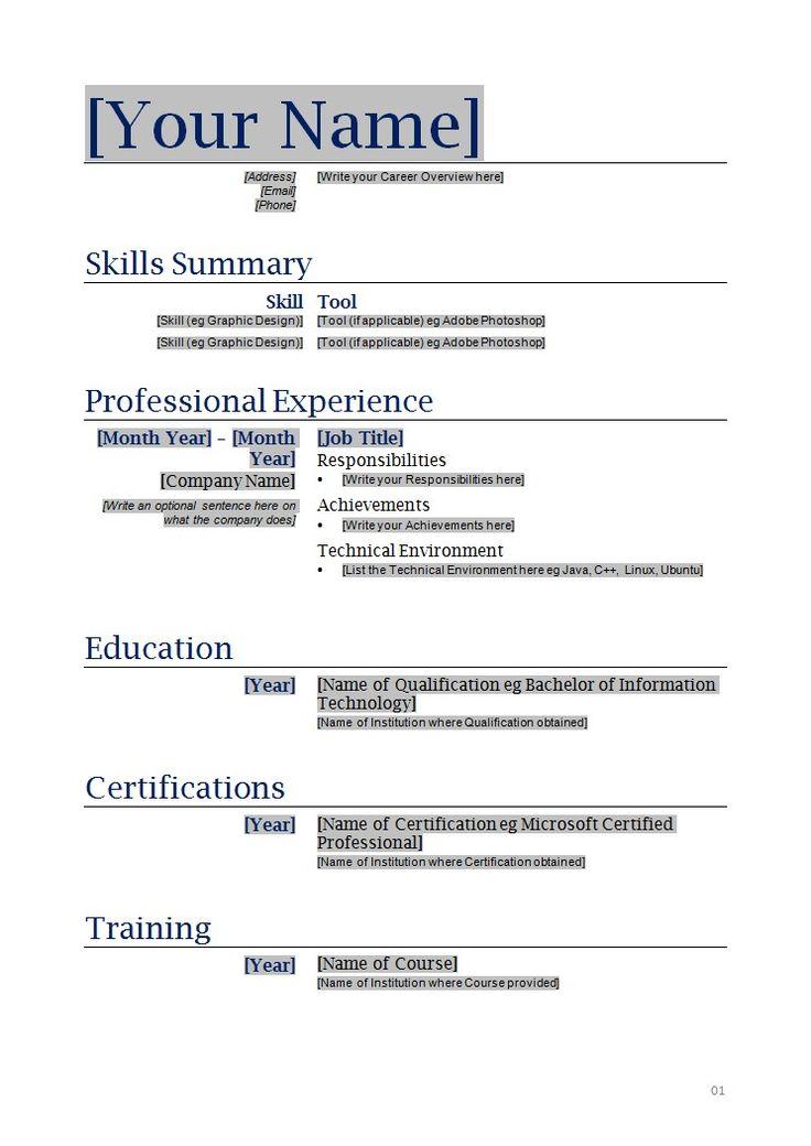 Free And Printable Resume Templates