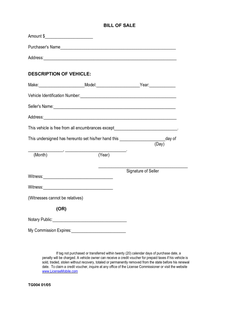 Free Car Bill Of Sale Free Printable Documents