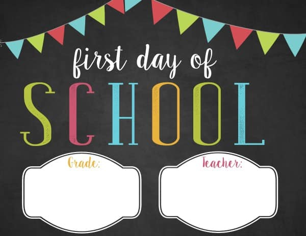 First Day Of School Template Free Printable 2020