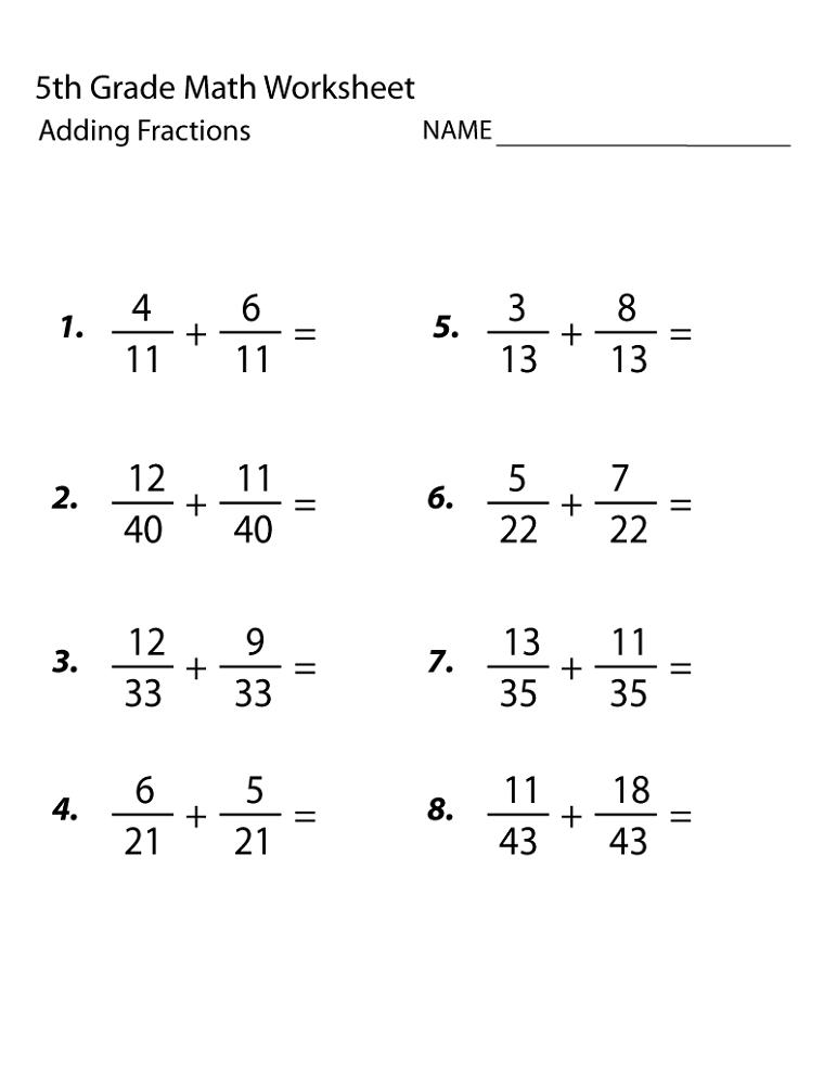 Math Grade 5 Worksheets