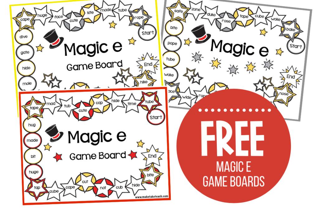 FREE Magic E Game Boards Make Take Teach