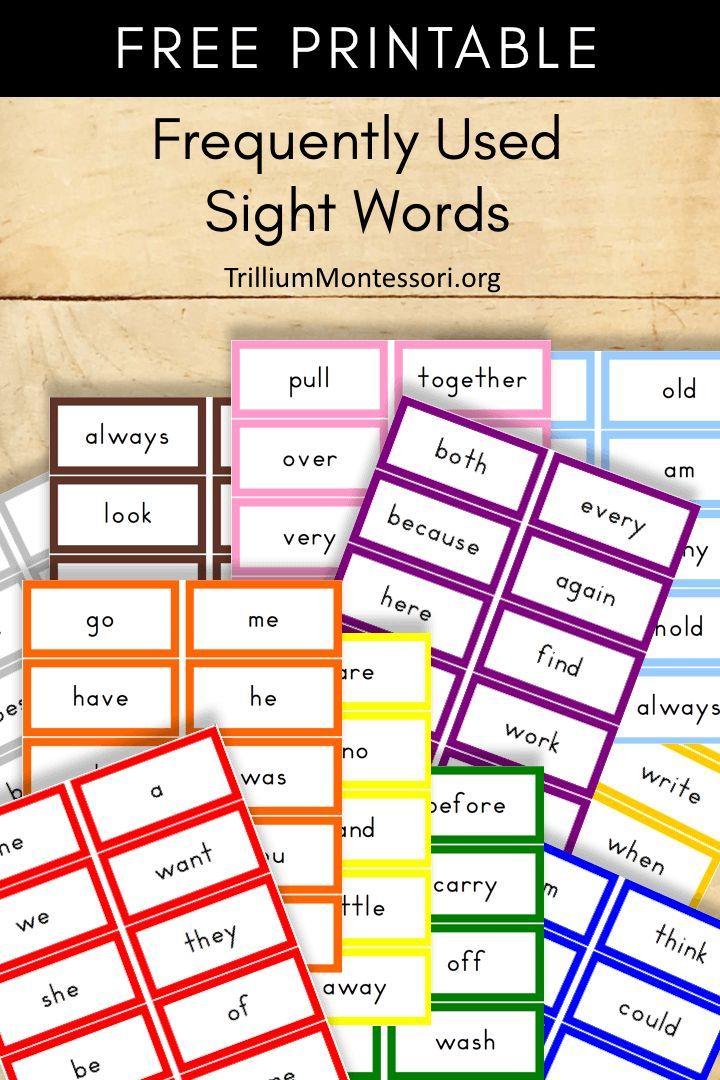 Free Printable Sight Words