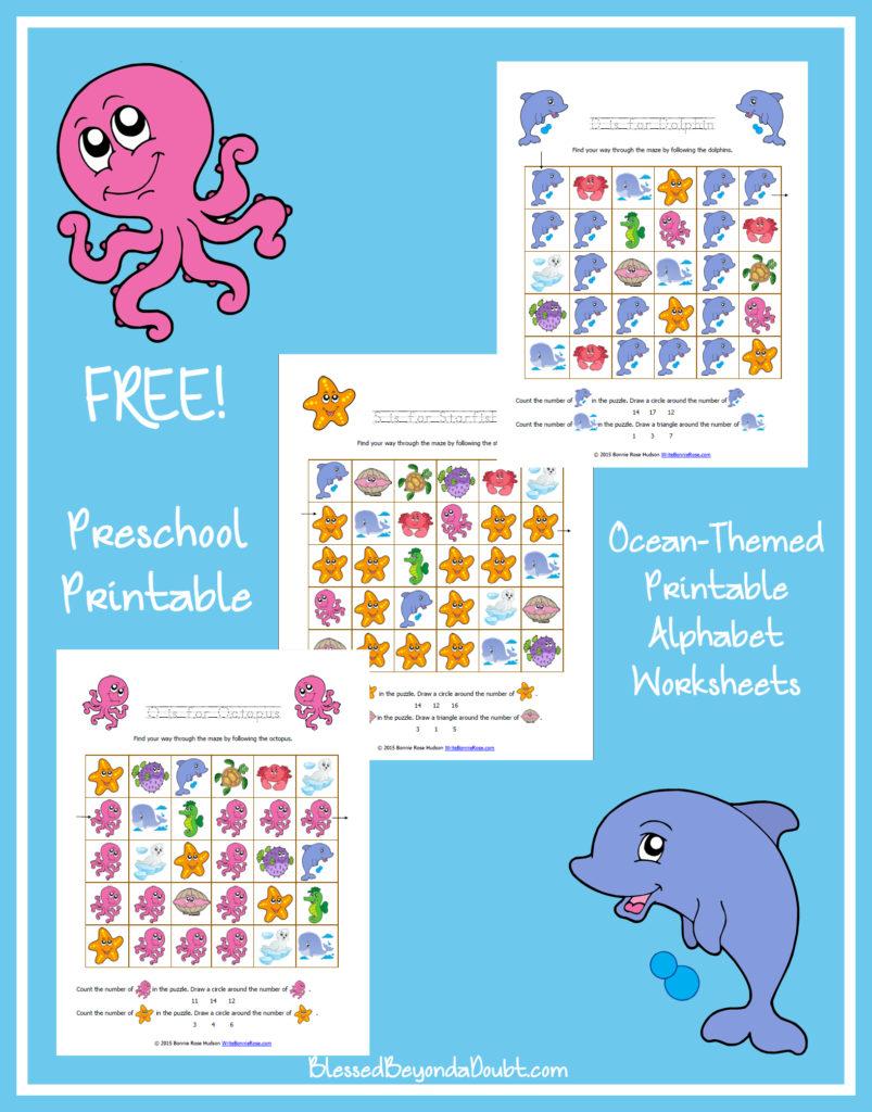 FREE Ocean Themed Printable Alphabet Worksheets For
