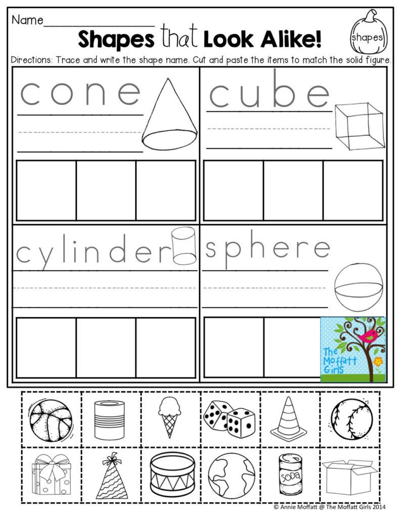 Free Printable 3D Shapes Worksheets For Kindergarten