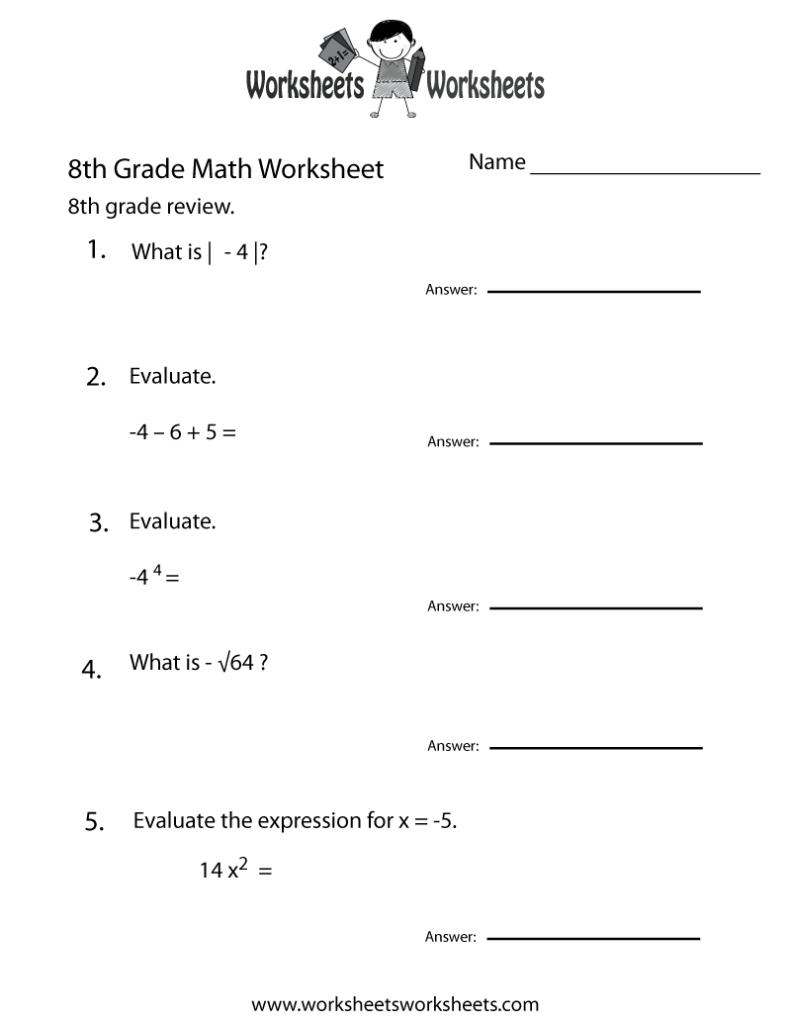 Free Printable 8th Grade Math Review Worksheet