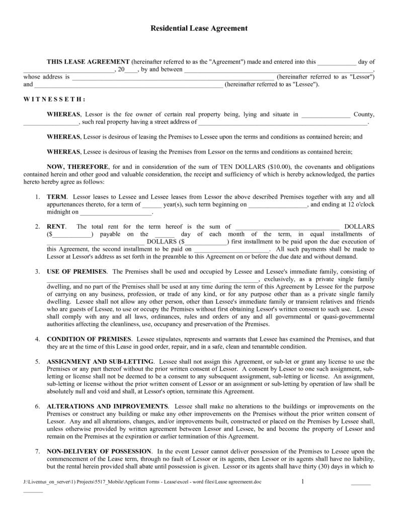 Free Printable Basic Rental Agreement Free Printable