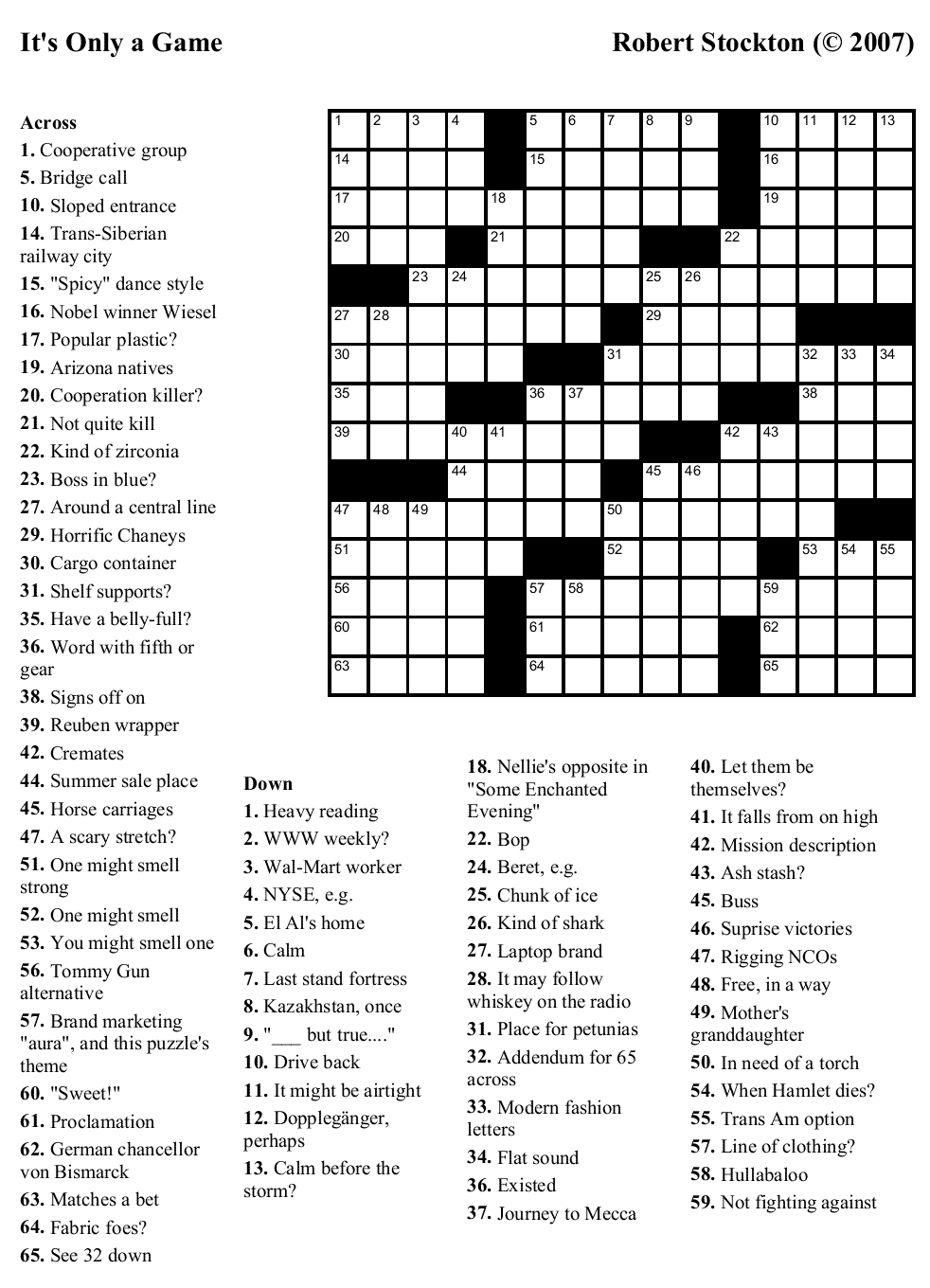 Crossword Maker Free Printable With Answer Key