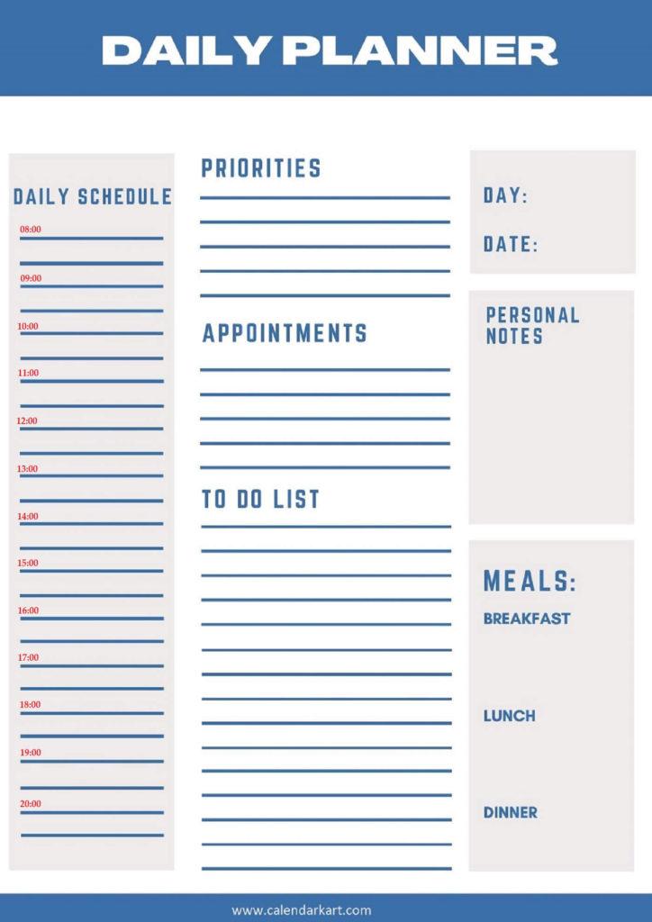 Free Printable Daily Planner 2021 Templates CALENDARKART