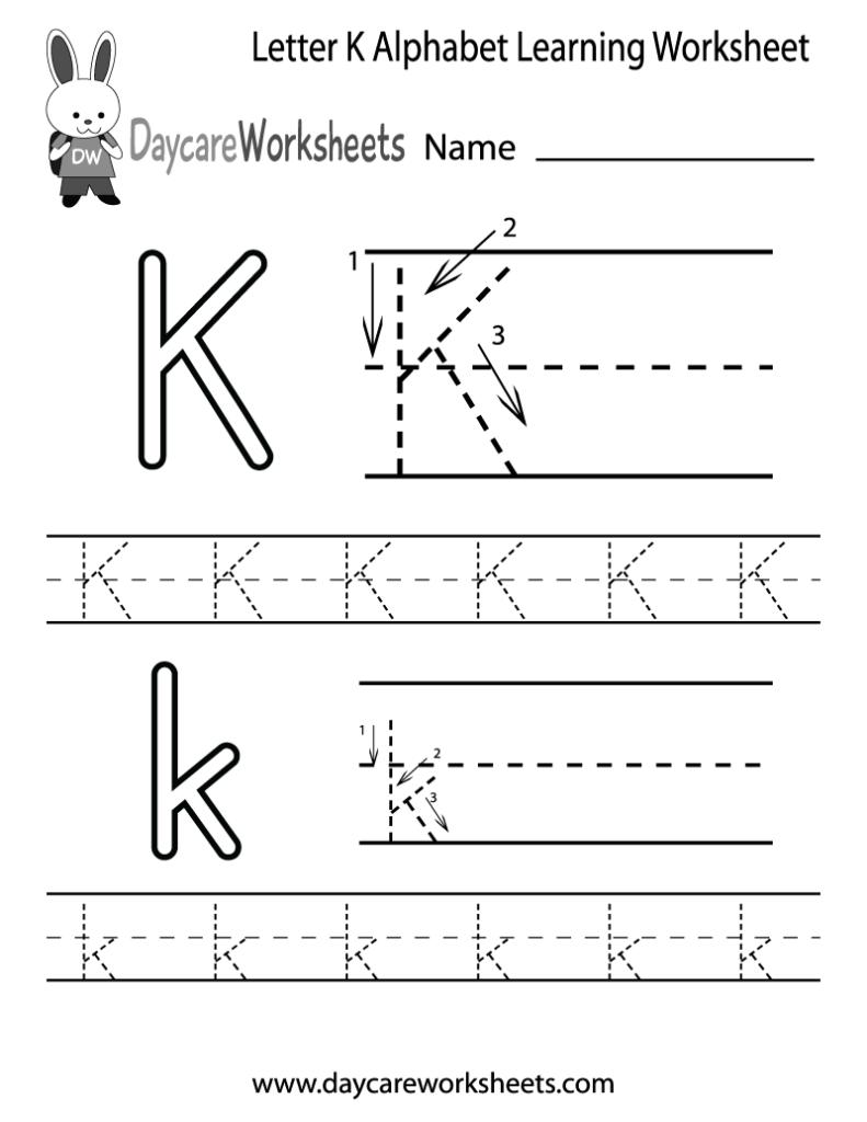 Free Printable Letter K Alphabet Learning Worksheet For