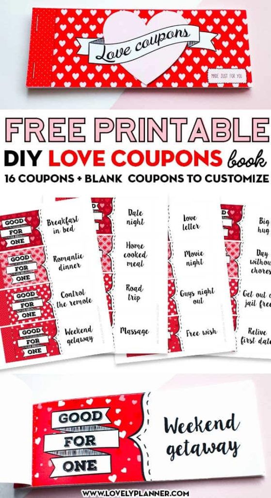 Free Printable Love Coupons DIY Gift Lovely Planner