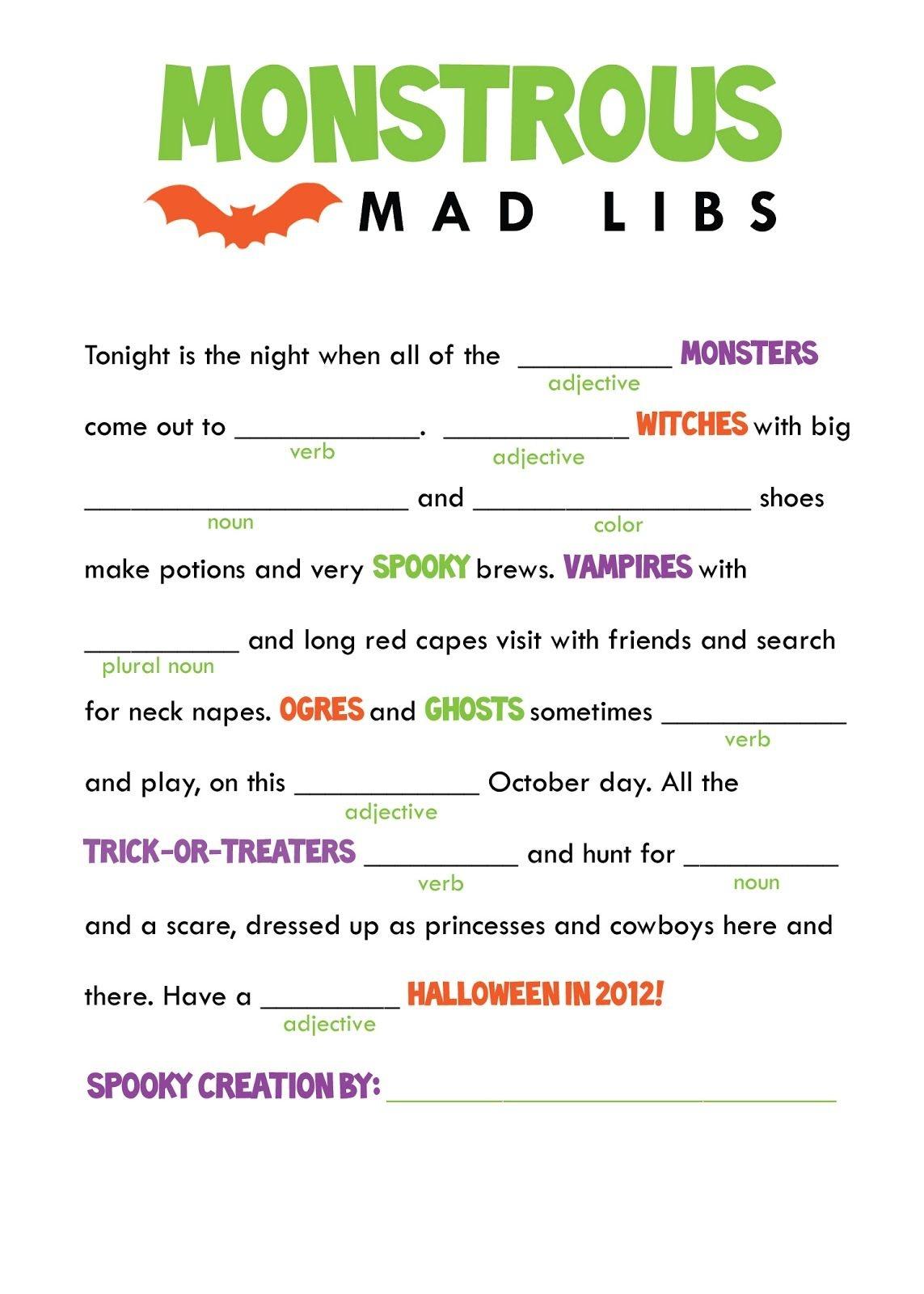 Mad Libs Printable