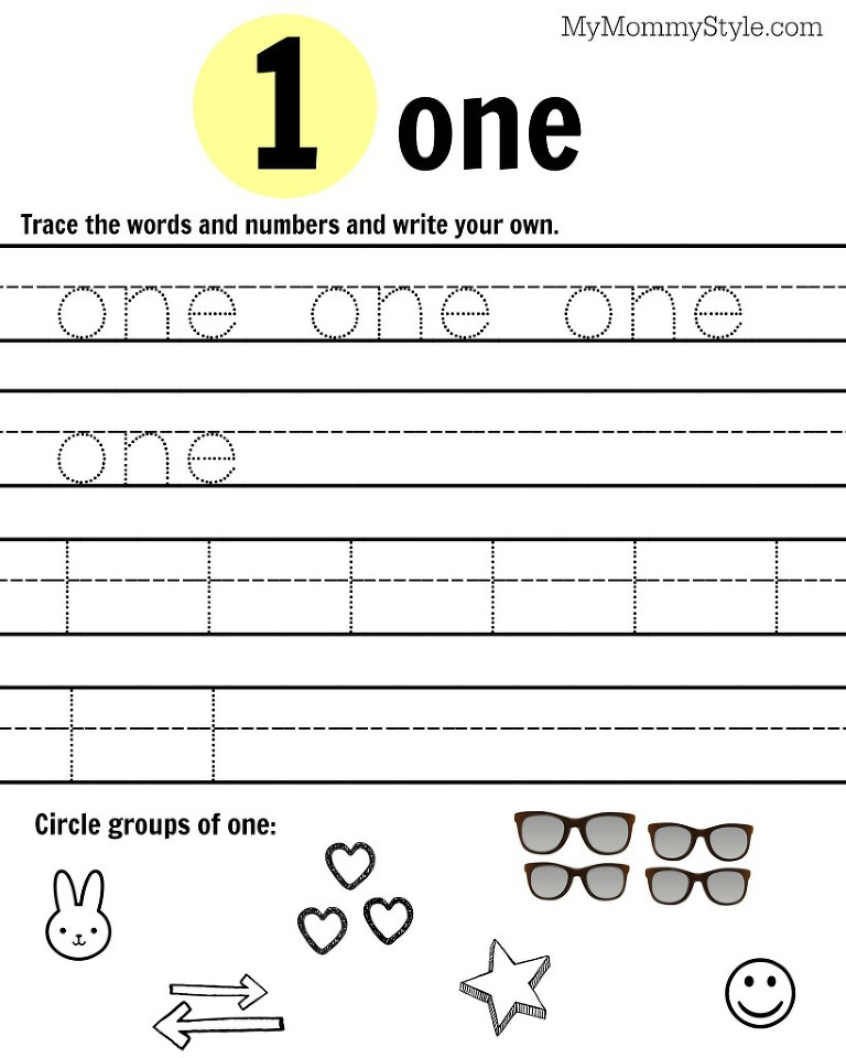 Number 1 Free Printable Worksheets