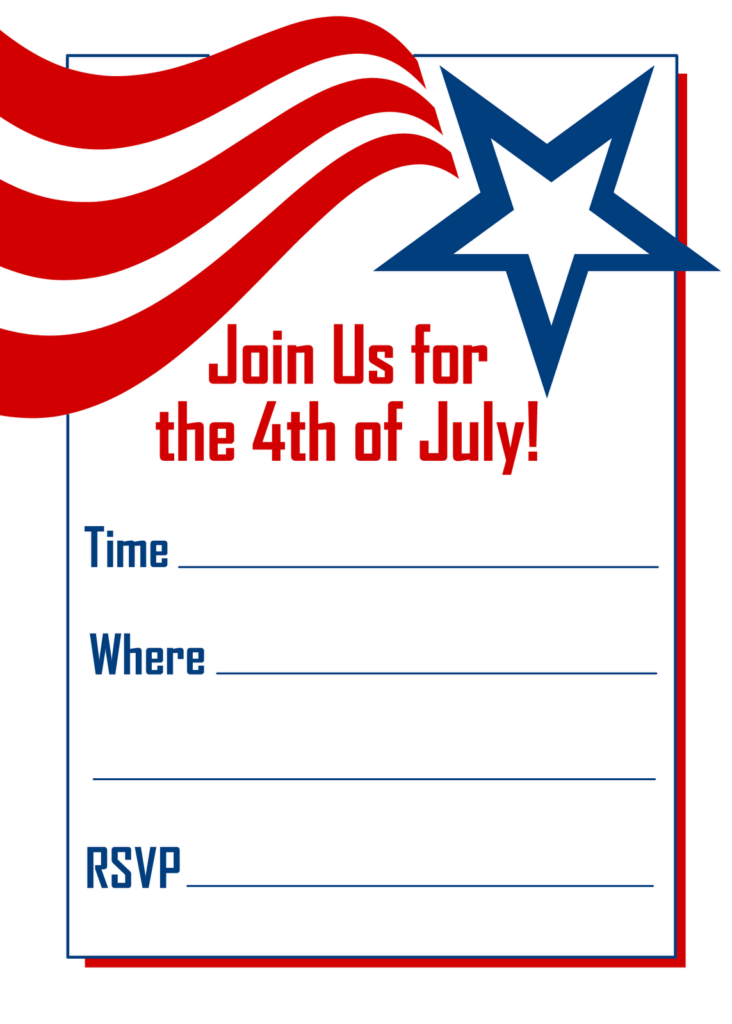 Free Printable Party Invitations Red White And Blue 4th