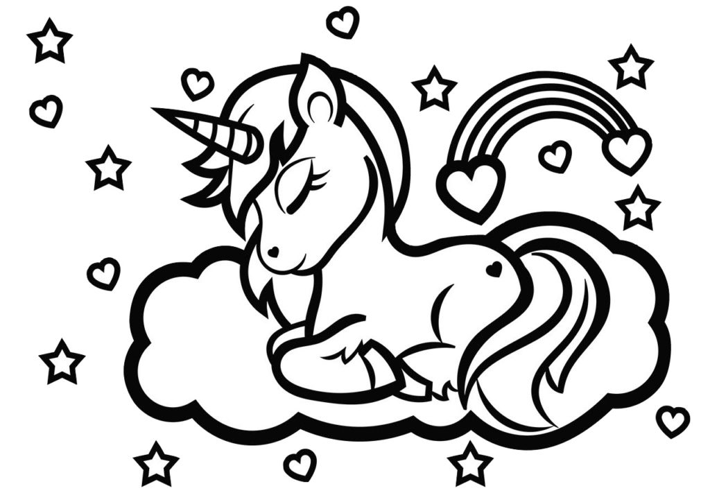 Free Printable Rainbow Unicorn Coloring Pages Print