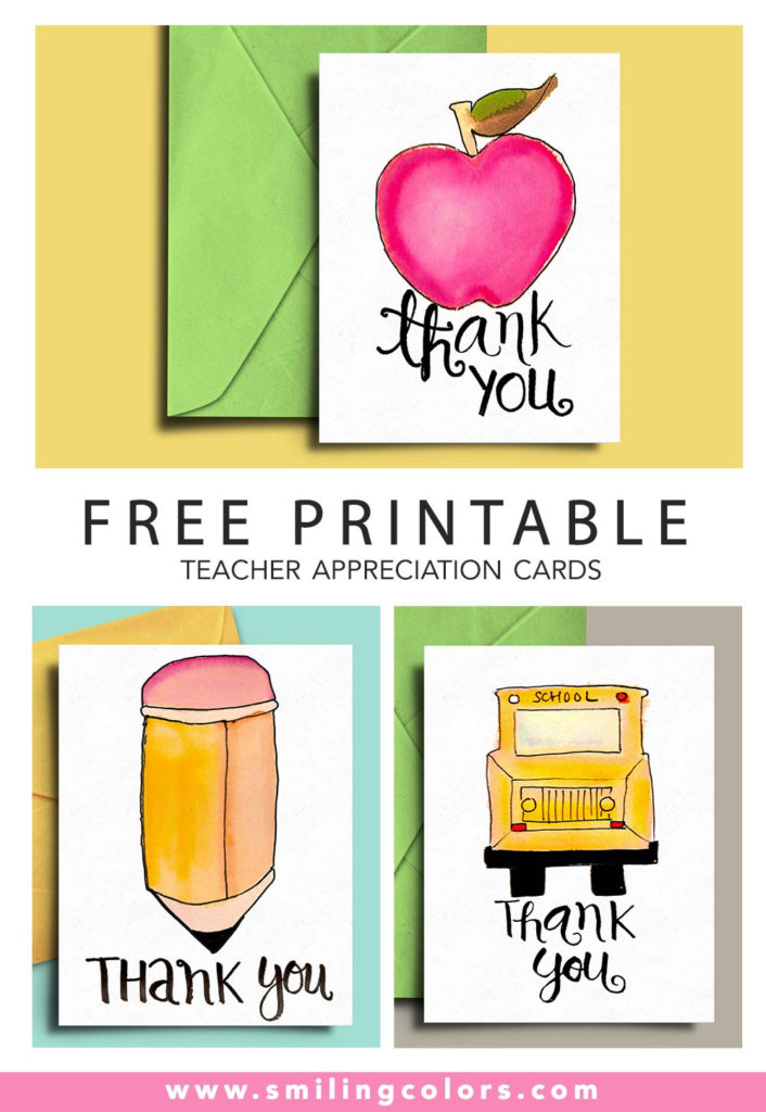 Free Printable Teacher Appreciation Cards Smiling Colors