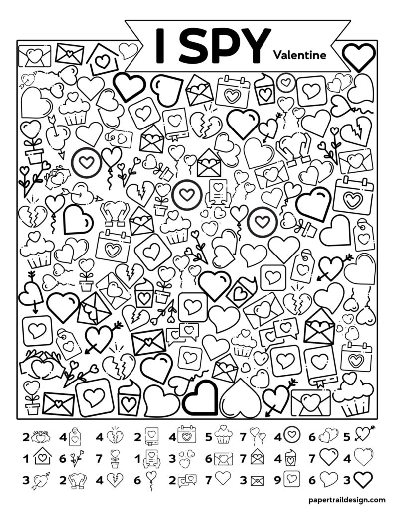 Free Printable Valentine I Spy Activity Paper Trail Design