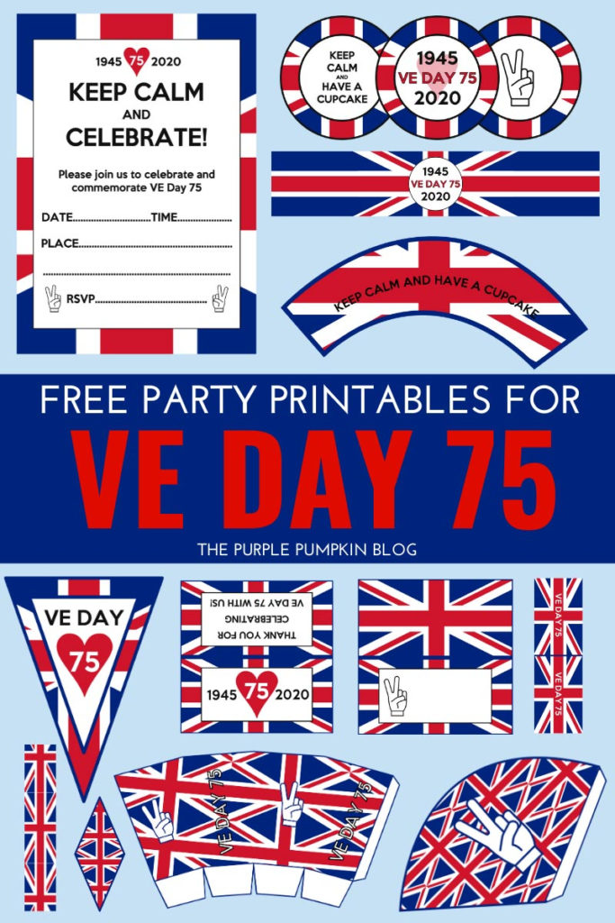 Free Printable VE Day Decorations Stay Home Party May