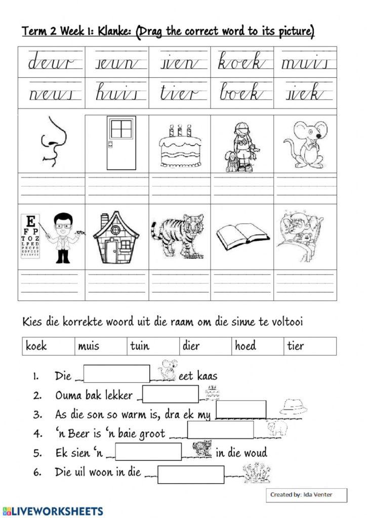 Grade 3 FAL Afrikaans Eu Oe Ie Ei Ou Klanke Worksheet