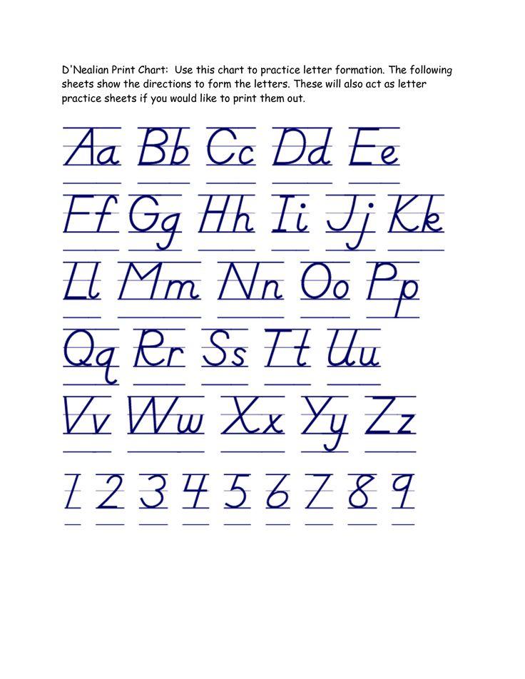 Free Printable D'nealian Handwriting Worksheets