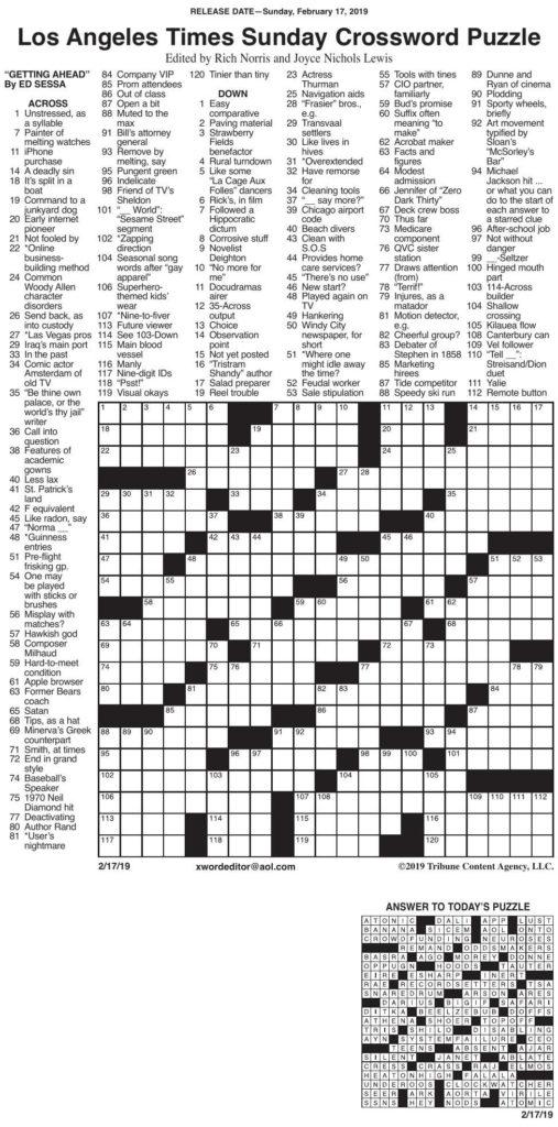 La Times Printable Crossword Puzzles 2020 Printable