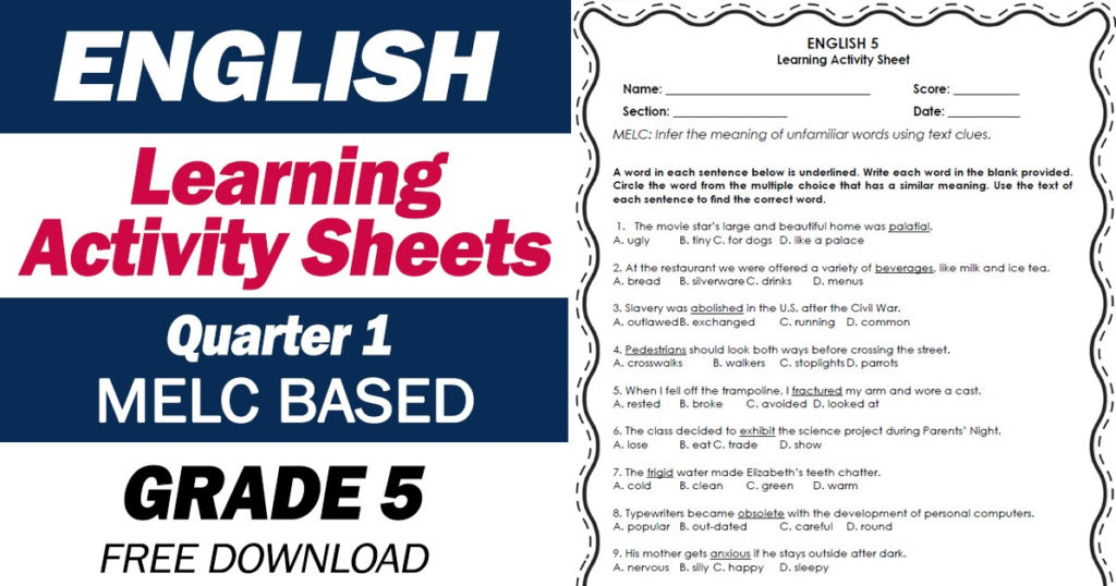 LEARNING ACTIVITY SHEETS In ENGLISH 5 Quarter 1 Free