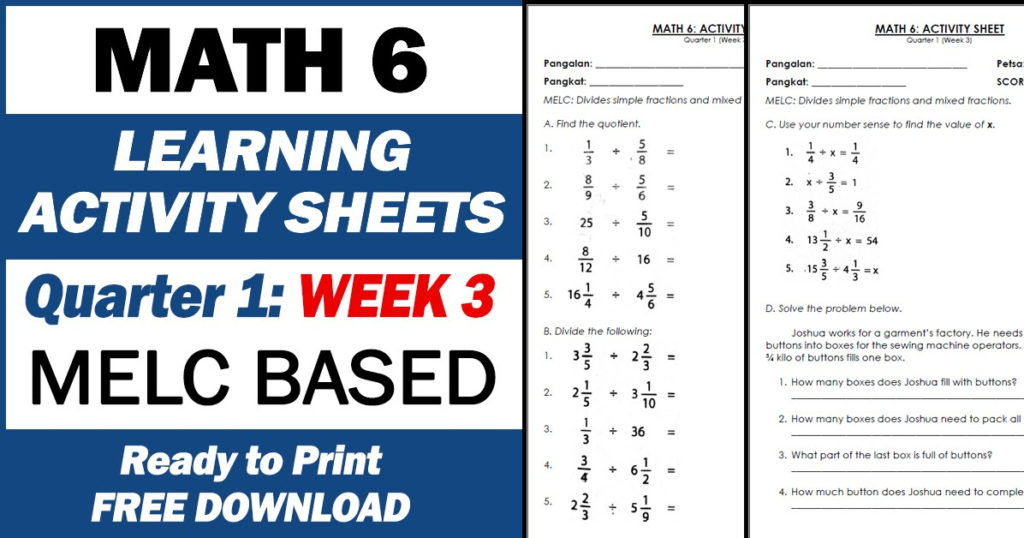LEARNING ACTIVITY SHEETS In MATH 6 Quarter 1 Week 3