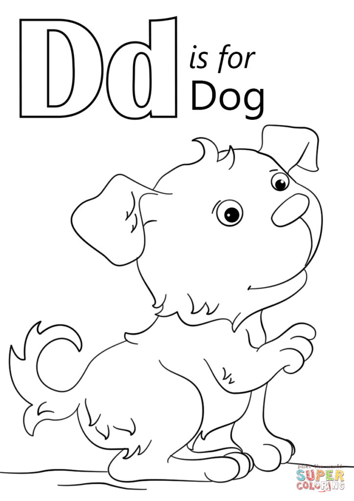 Letter D Is For Dog Coloring Page Free Printable