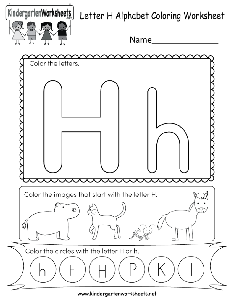 Letter H Coloring Worksheet Free Kindergarten English