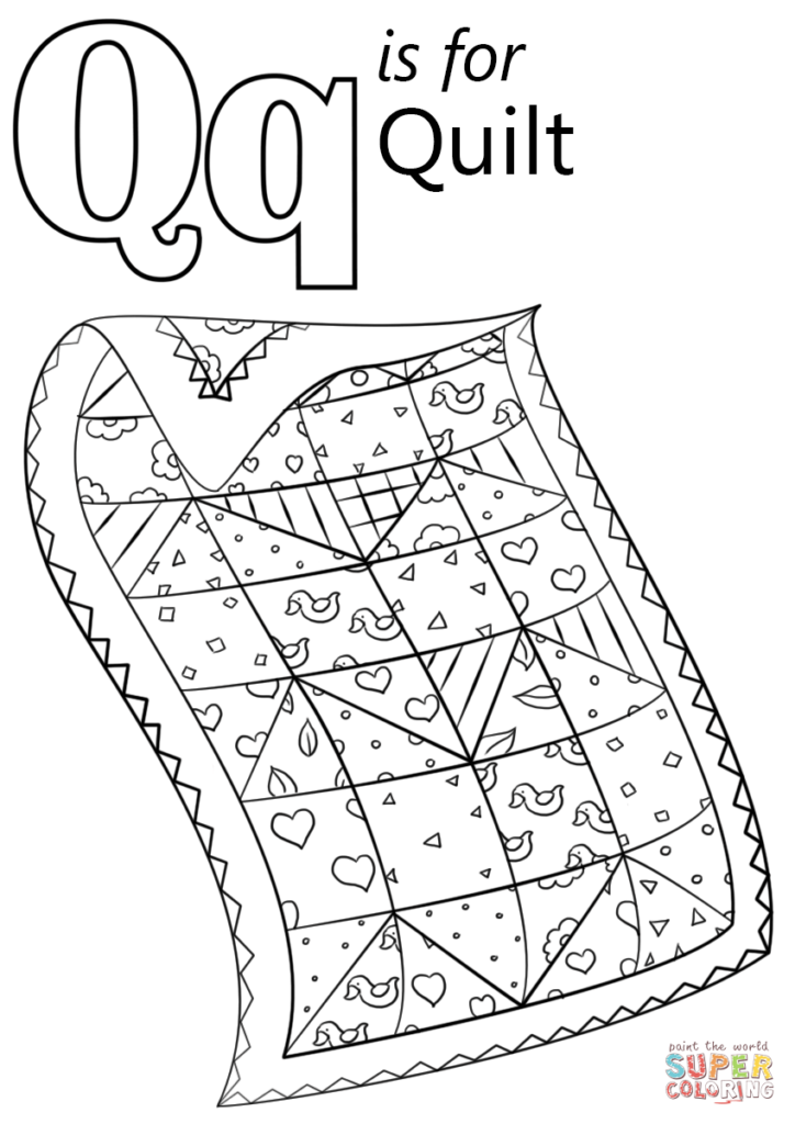 Letter Q Is For Quilt Coloring Page Free Printable