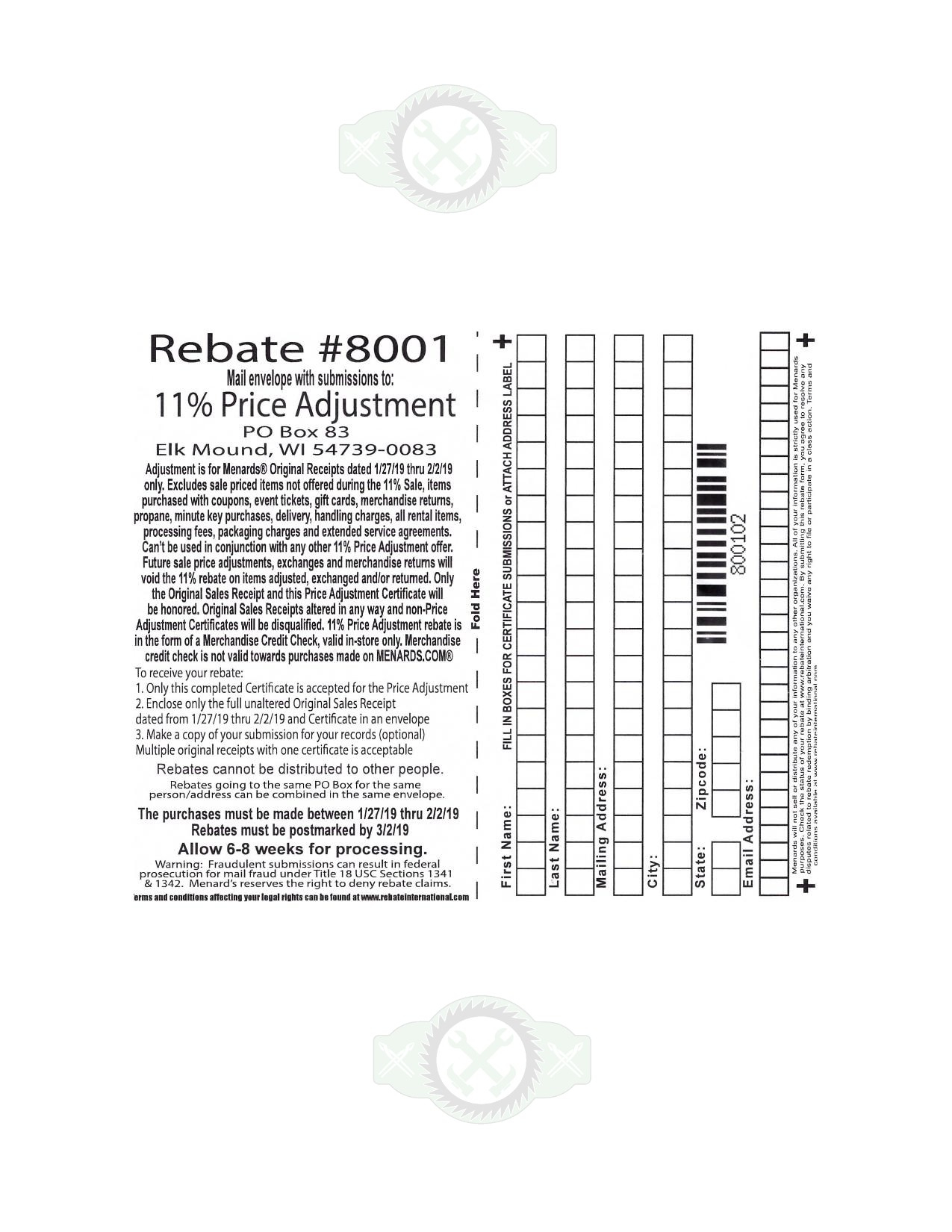 Menards Rebate Adjustment Form January 2021