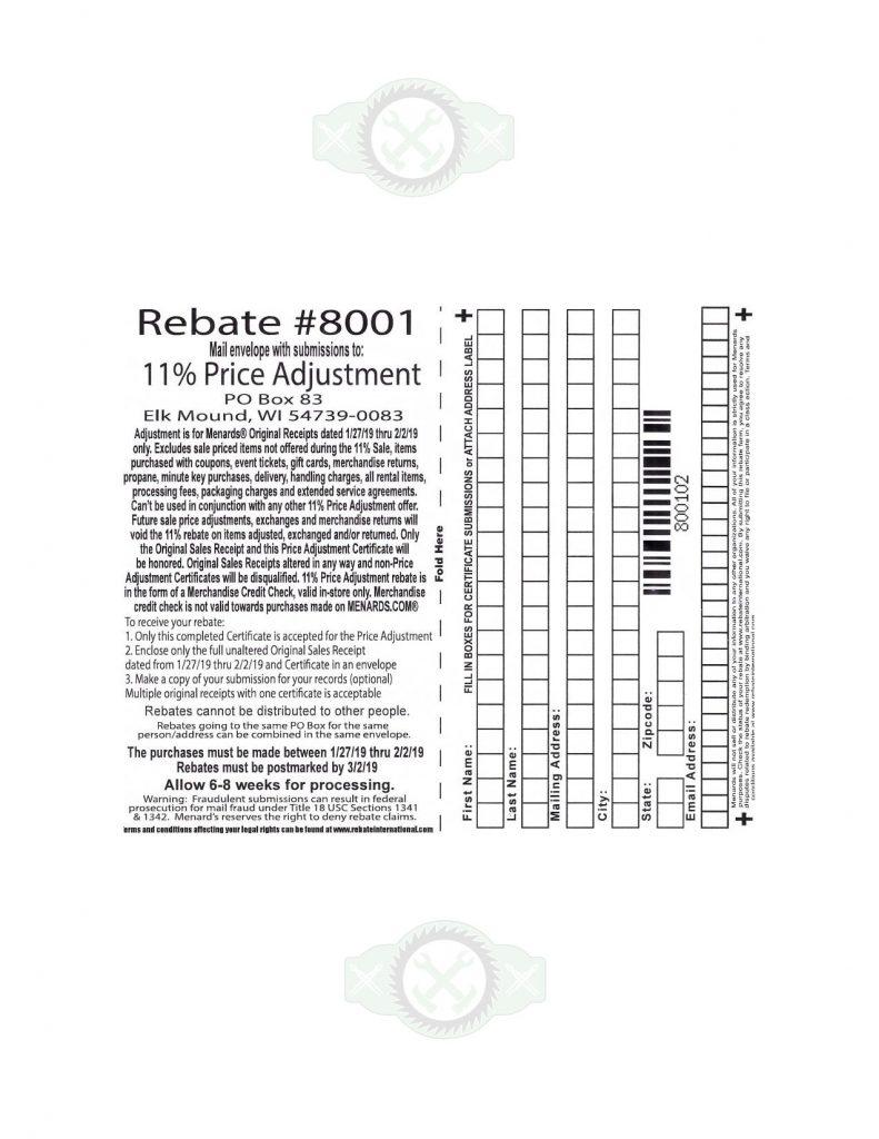 Menards Rebate Adjustment Form 2021