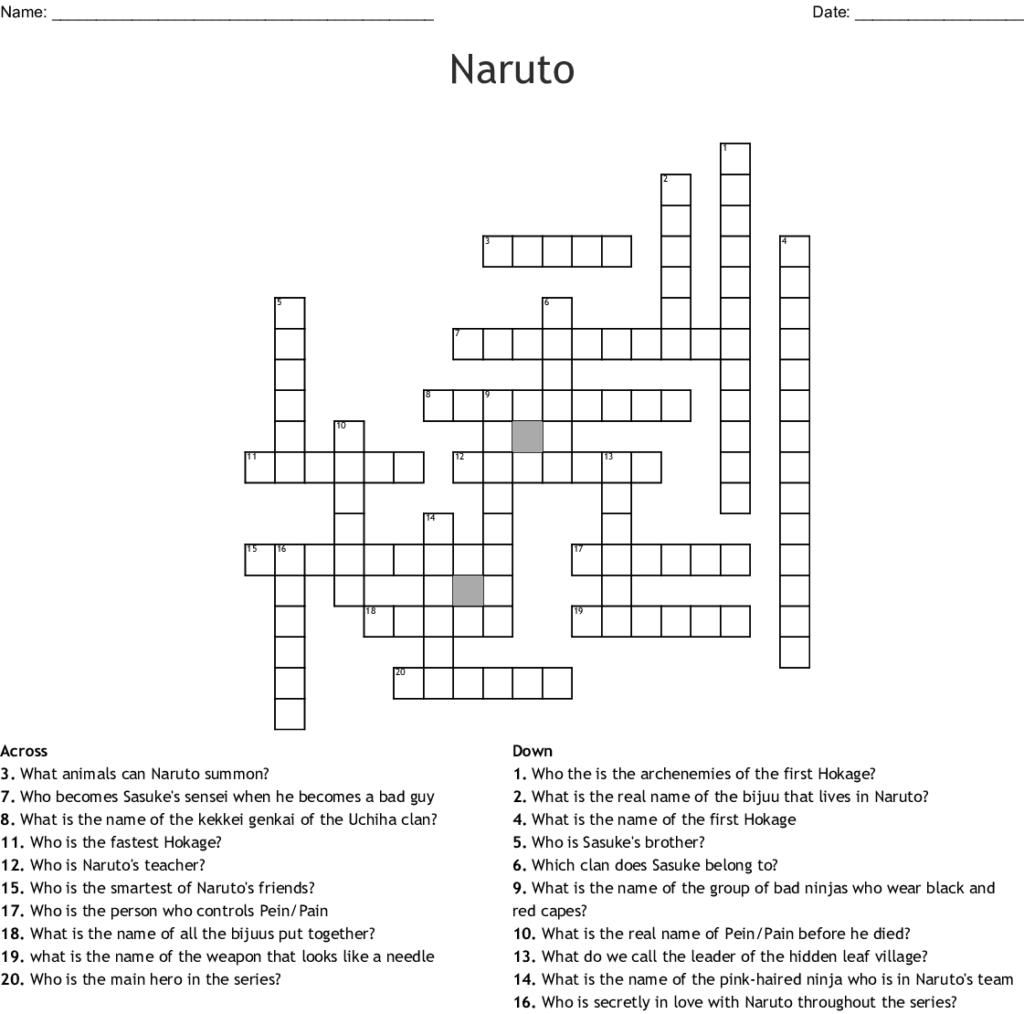 Naruto Crossword WordMint