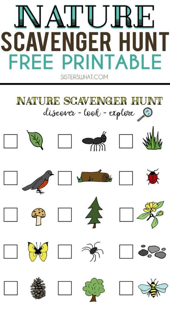 Nature Scavenger Hunt Free Printable Nature Scavenger